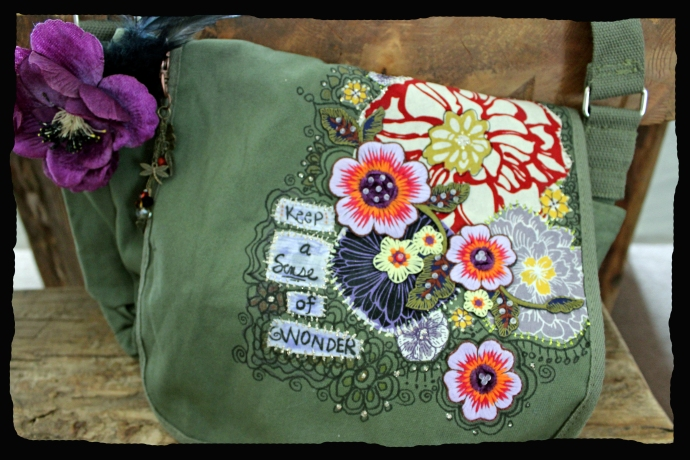 Flower Collage Canvas Purse